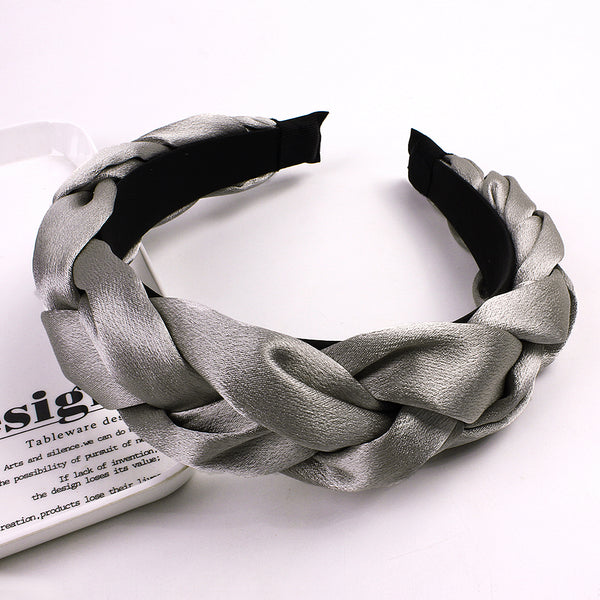 Korean Vintage Silk Satin Braid Hairbands Fashion Solid Fabric Cotton Hair Band for Women Turban Wide Headwear Accessories
