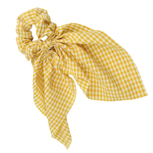 Lattice Cotton Hair Scrunchies Plaid Hair Accessories Women Ponytail Holder Girl Headwear Elastic Hairband, gingham longtail hair scrunchies7178 - SOHOBUCKS CO.,LIMITED