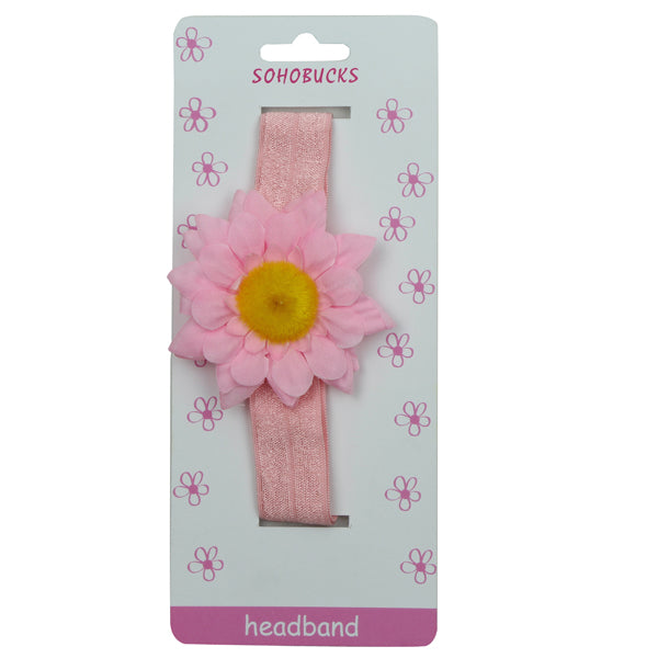 Hot Pink Sun flower Hot Pink Crease Free 2.5 cm Headband for Baby 1214 - SOHOBUCKS CO.,LIMITED