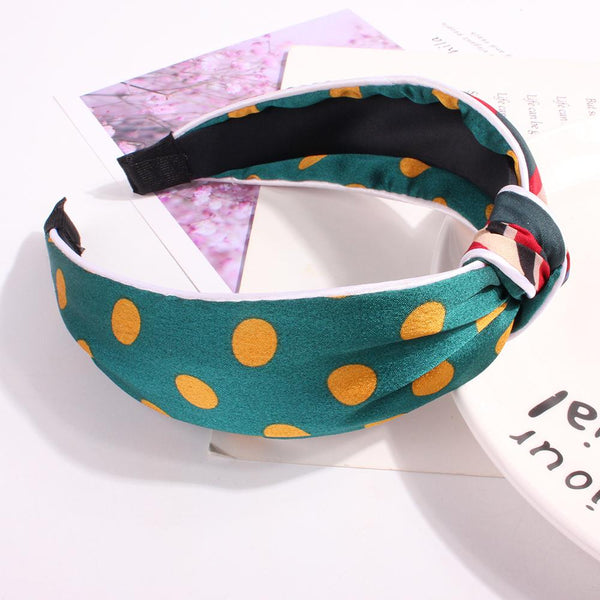Literary Polka Dot Hairband Women Fashion Bohemian Knotted Headband Simple Sweet Girls Hair Accessories