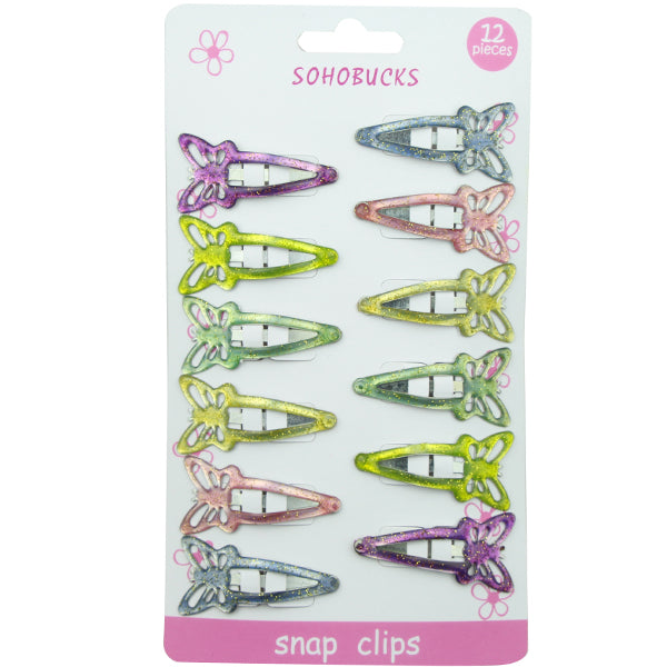 Metal Butterfly Snap Hair Clips with Epoxy Hair Accessories Set1287 - SOHOBUCKS CO.,LIMITED