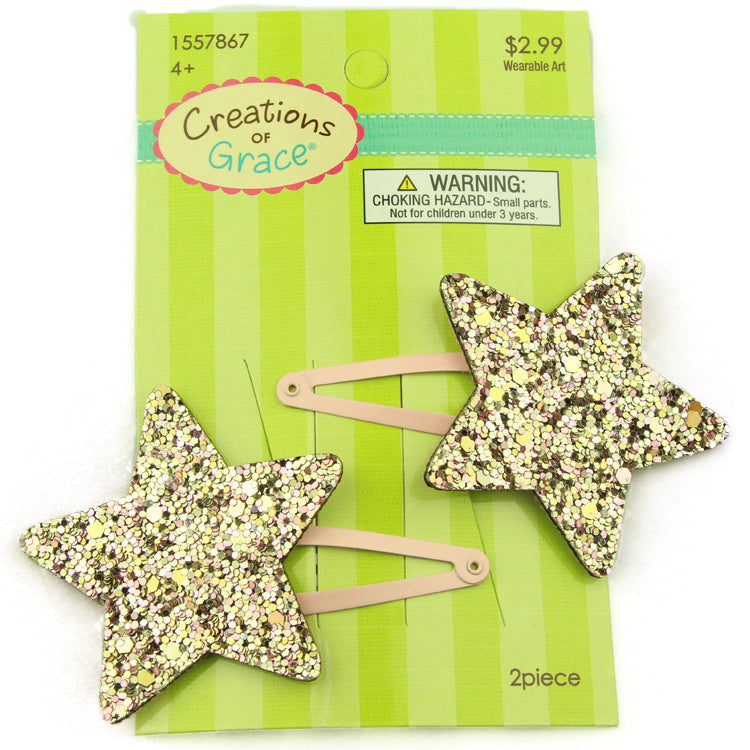 PU leather glitter star snap hair clip barrette wholesale at factory price from audit facility2375