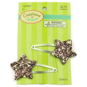PU leather glitter star snap hair clip barrette wholesale at factory price from audit facility - SOHOBUCKS CO.,LIMITED