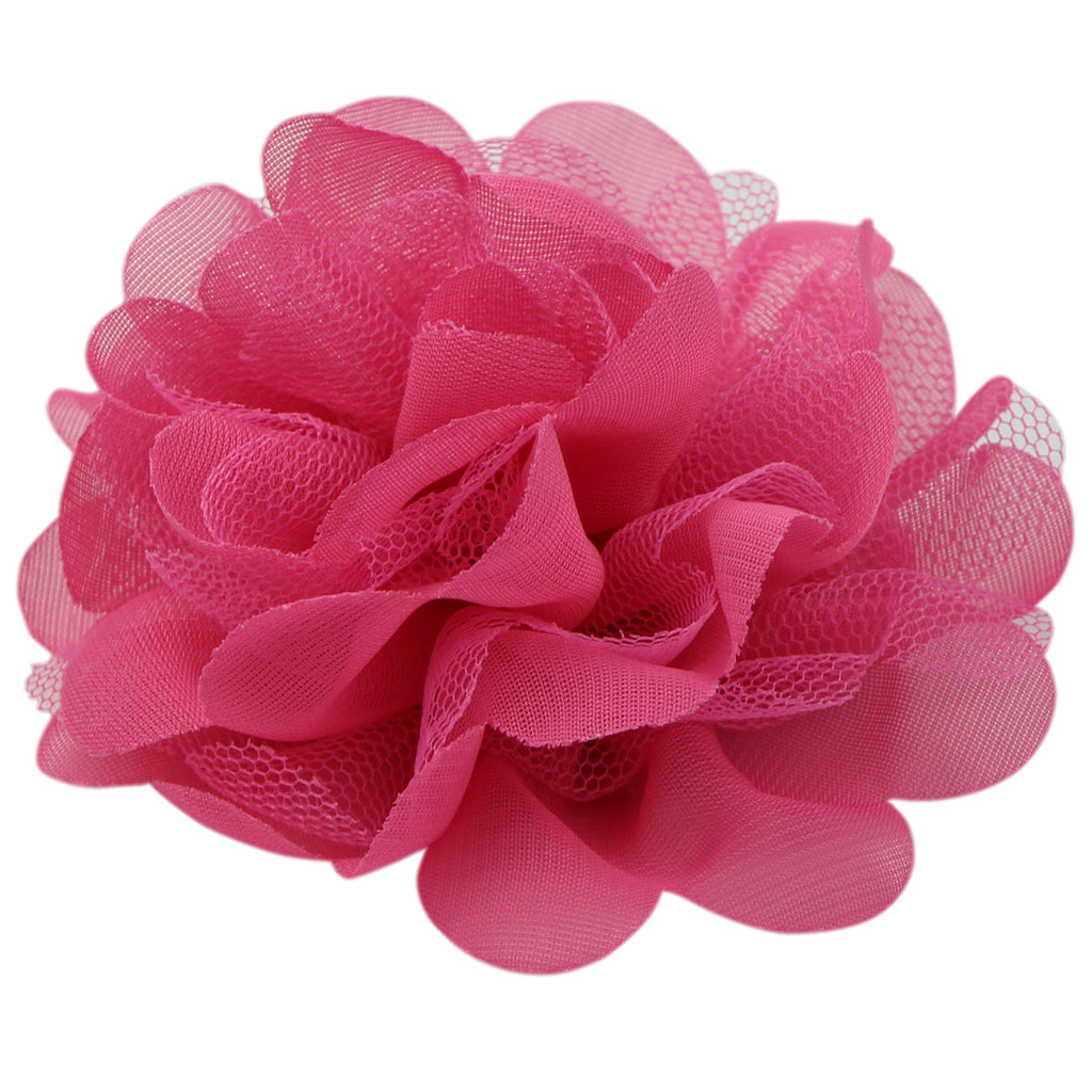 Pink Frayed Shabby Chiffon Flower Hair Clip Accessories0687