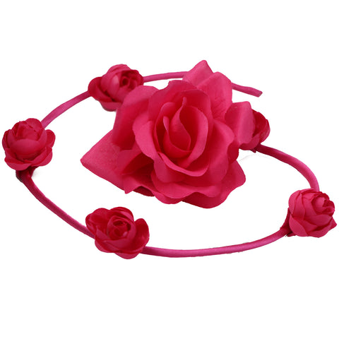 Pink artificial silk rose flower swirl bun headbands women wired hair bun wholesale girl hair accessories0552 - SOHOBUCKS CO.,LIMITED