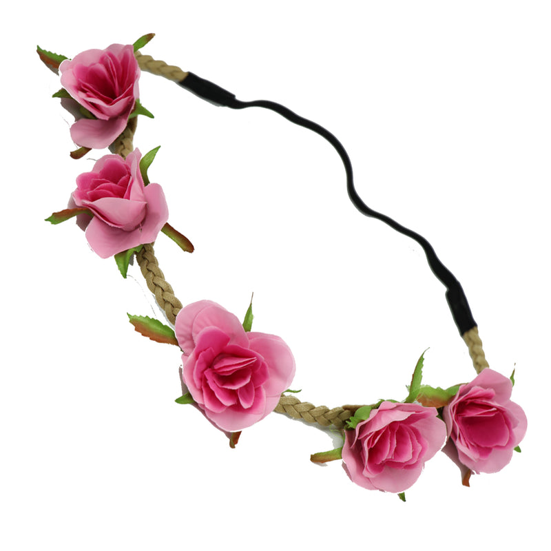 Pink rose buds flower hair accessories floral halo artificial flower crown0442