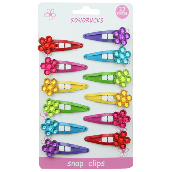 Plastic mini flower with 4 cm snap hair clip accessories set 1288 - SOHOBUCKS CO.,LIMITED