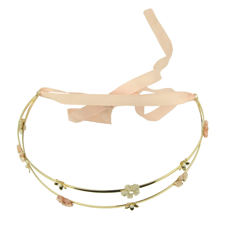 Poly Resin Flowers Crystal Alloy Gold Flowers Hair Hoop Chain Tiara Clip Head Jewelry Accessories Headband For Women 8224