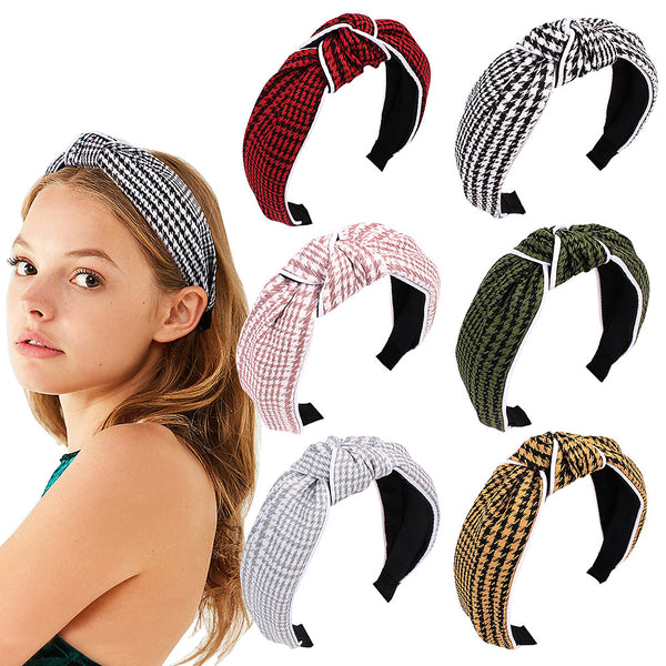 Fashion Cross Knot Hair Hoop Women Headband wide Headwraps Hair Band Simple Temperament Houndstooth Hair Headband Lovely Girls Accessories Gift