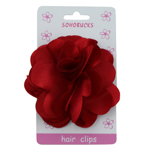 Red Big Satin Laser cut frayed Flower Hair Accessories plain alligator  Clip1151 - SOHOBUCKS CO.,LIMITED