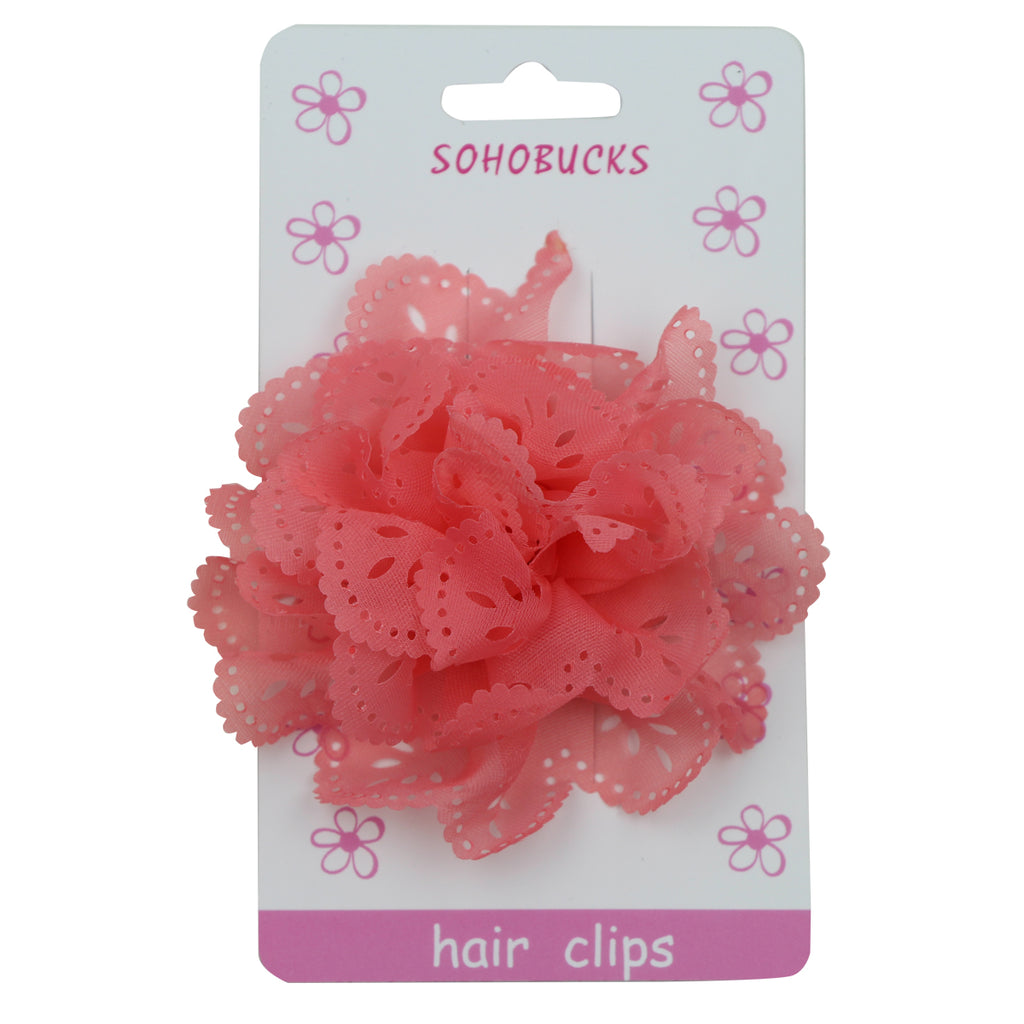 Red Lace Pattern Chiffon Flower Hair Clips1152