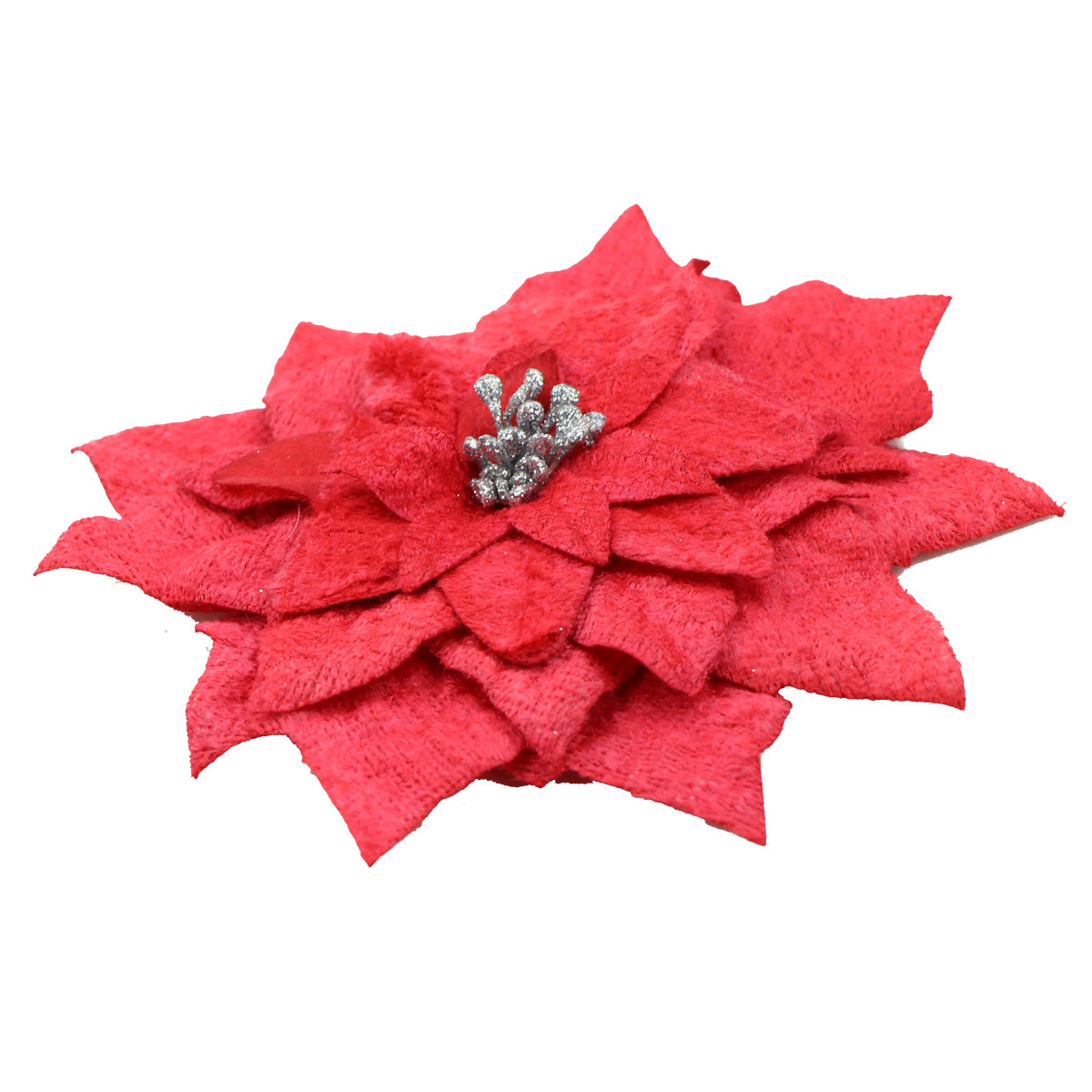 Red Velvet artificial silk Lily Flower Hair Clip Glitter Centerpiece 0894 - SOHOBUCKS CO.,LIMITED