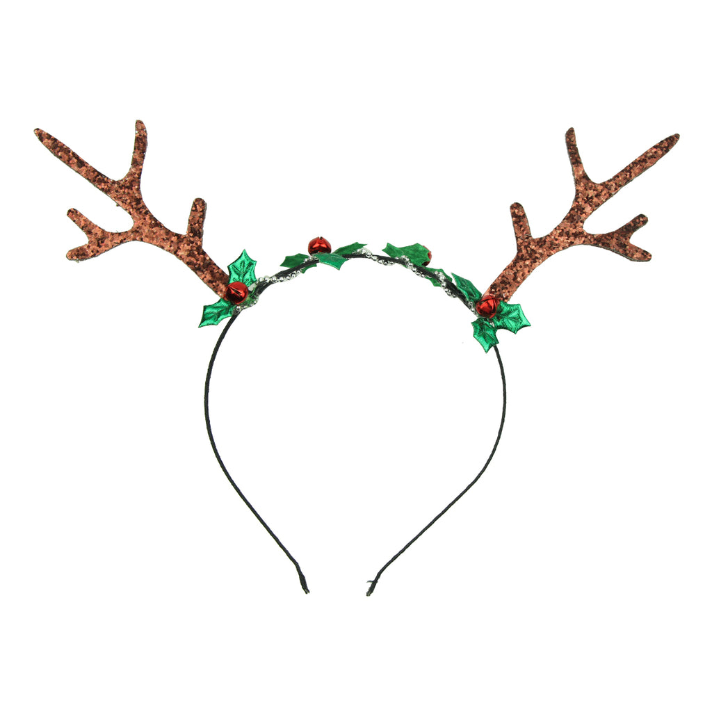 Reindeer Horns Women Girls Elk Antlers Hair Hoop Christmas bell Deer Antler Headband 8106