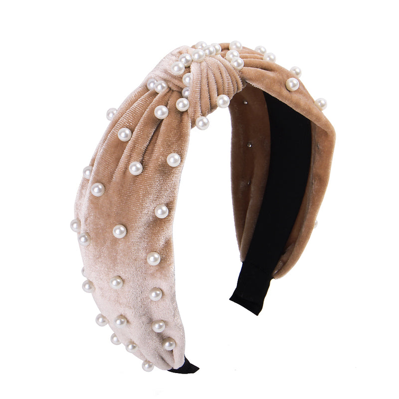 Retro Knotted Pearl Hair Bands Bow Knot Velvet Beading Hairband Women Hair Head Hoop Girls Headband Bohemian Hair Hoop Turban