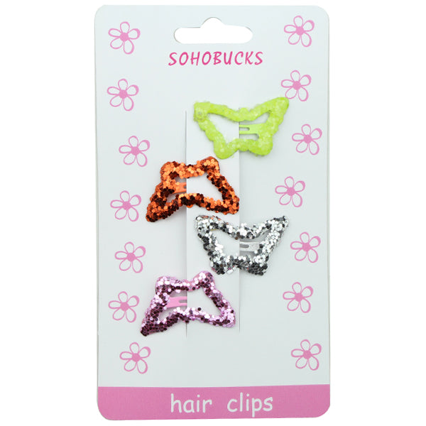 Sparkle Hair Accessories Bling Snap Hair Clip Barrette Butterfly Shining Sequin Accessories 1279