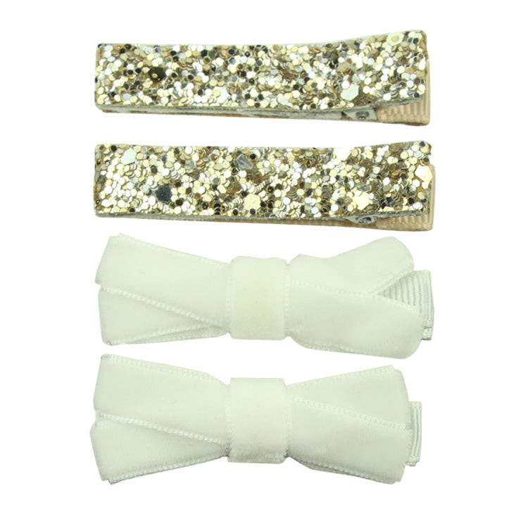 Sparkly Glitter Ribbon Lined Hair Clip Bow Tuxedo for Children's Women Girls Barrette Clip Headwear Accessories 8260