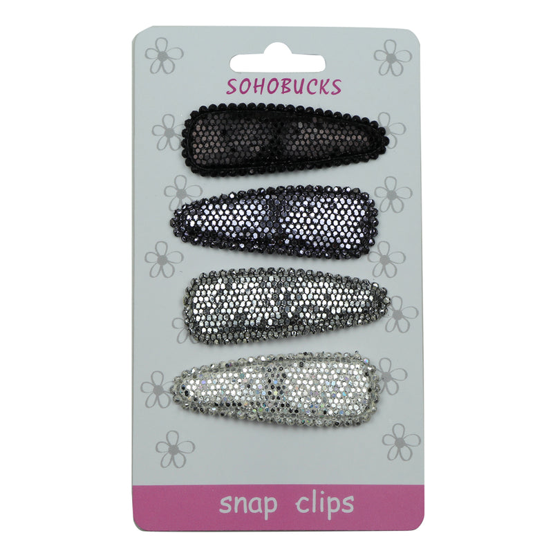 Sparkly silver suede PU leather covered 5cm snap hair clips ornaments set 1025 - SOHOBUCKS CO.,LIMITED