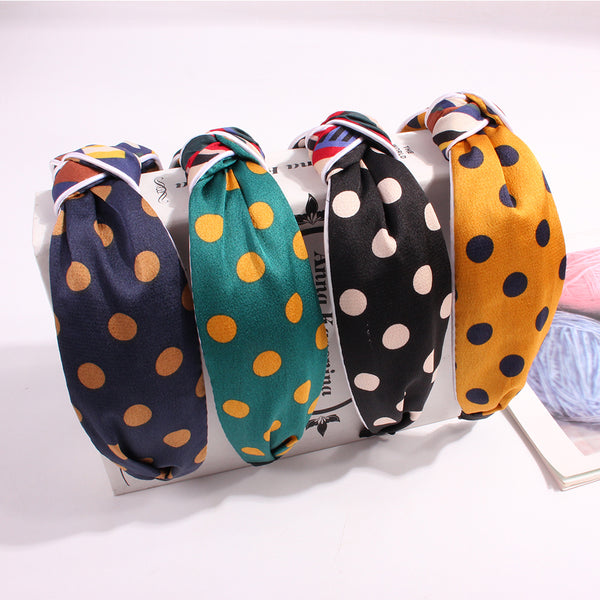 Bow Polka Dot Hairbands Spring Summer Hair Accessories Women Head Wrap Korean Dot Cotton Fabric Turban Headband Hair Band