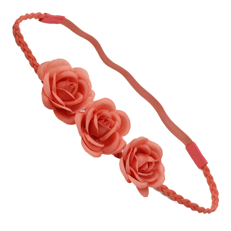 Three Orange Rose Flower Braided Leather Headband Flower Crown flower halo headband wreath 0417
