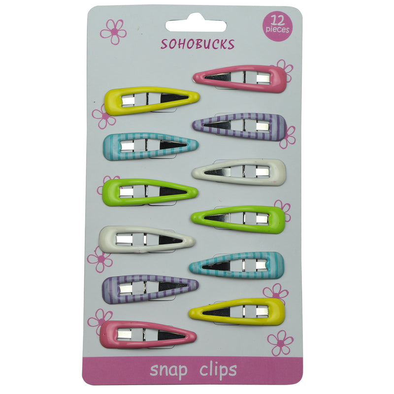 Trendy 4cm metallic snap hair clips barrette set with epoxy 1063 - SOHOBUCKS CO.,LIMITED