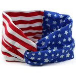 Wide American Flag Cross Headband Fabric Twist women head wrap custom private label adult knitted HairBand  wholesale
