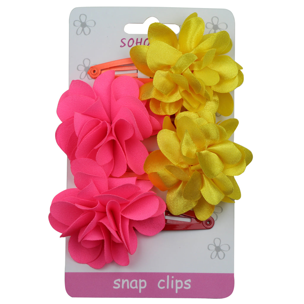 Yellow Satin Flower Hair Snap Clip chiffon frayed flower girl hair clip 1041 - SOHOBUCKS CO.,LIMITED