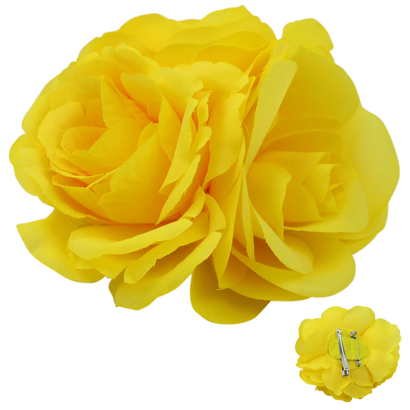 Yellow Triple artificial silk  Rose Flower Hair Accessories  Plain Alligator hair clip 0679 - SOHOBUCKS CO.,LIMITED