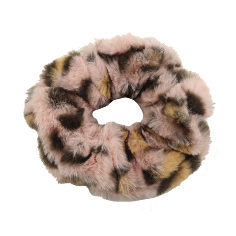 artificial faux fur handmade custom printed fluffy leopard print vintage winter plush hair scrunchies from BSCI Audit supplier 6114
