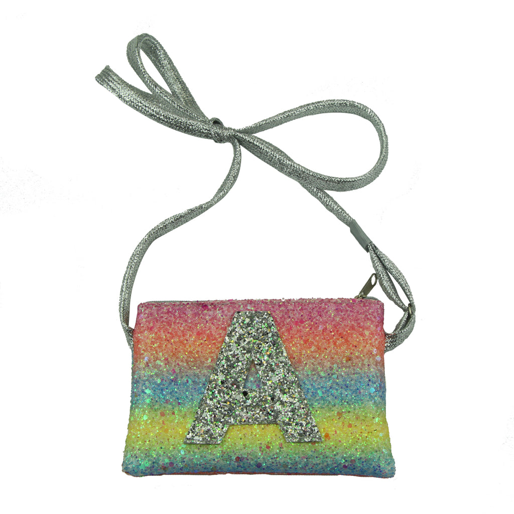 artificial faux suede leather glitter rainbow kid purse clutch hand bag girls purse storage shoulder bag from audit factory 5432 - SOHOBUCKS CO.,LIMITED