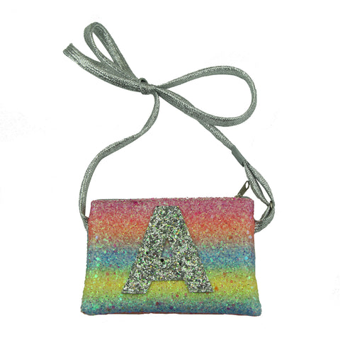 artificial faux suede leather glitter rainbow kid purse clutch hand bag girls purse storage shoulder bag from audit factory 5432