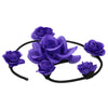 artificial silk purple rose flower swirl buns headband0548