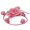 artificial silk Pink rose flower swirl bun headbands0549