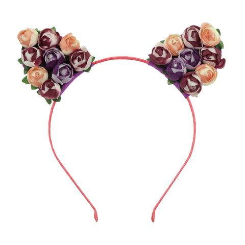 artificial silk rose buds flowers felt cat ears ribbon hairband headband girl hair accessory 6079 - SOHOBUCKS CO.,LIMITED
