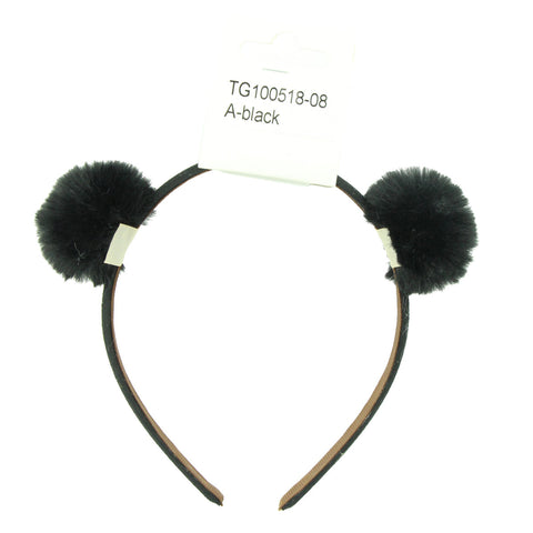 black artificial faux animal fake rabbit fur pom poms hairband women fabric ribbon covered plush ball headband 6530 - SOHOBUCKS CO.,LIMITED