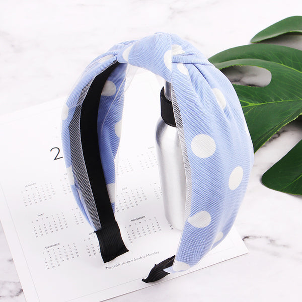 polka dots fabric covered hair headband,hair accessories fabric hairbands school set90329