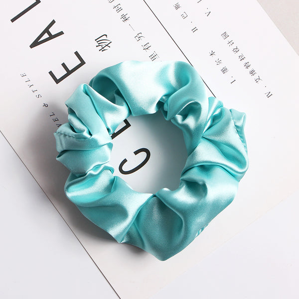 blue satin scrunchies