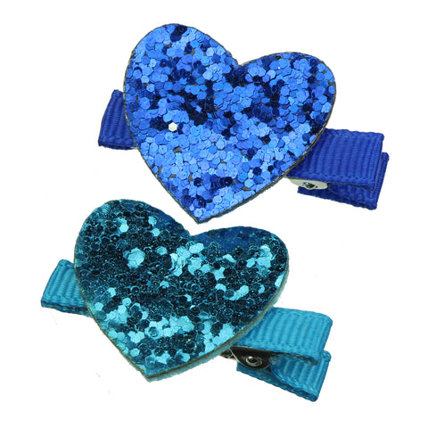blue suede faux leather love heart grosgrain ribbon lined baby girl decorative hairgrip clip 7612