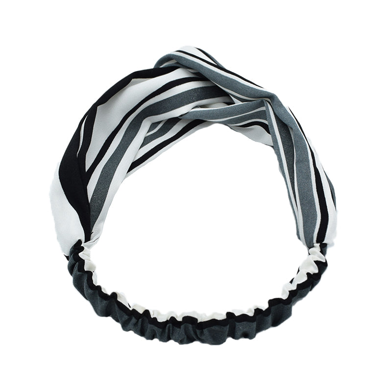 boho scarf head wrap black and white strape twist head wrap cross hair headband 8093