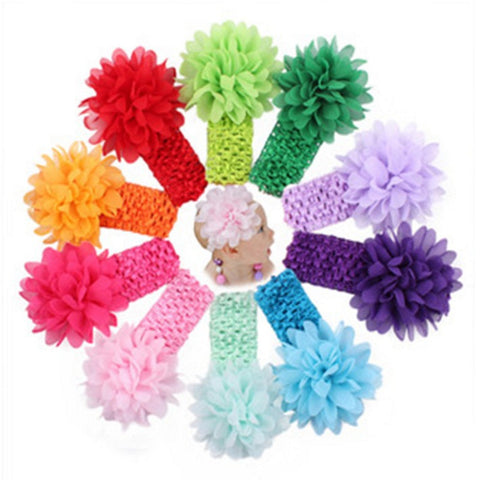 chiffon flower crochet headband girl hair accessories assorted color - SOHOBUCKS CO.,LIMITED