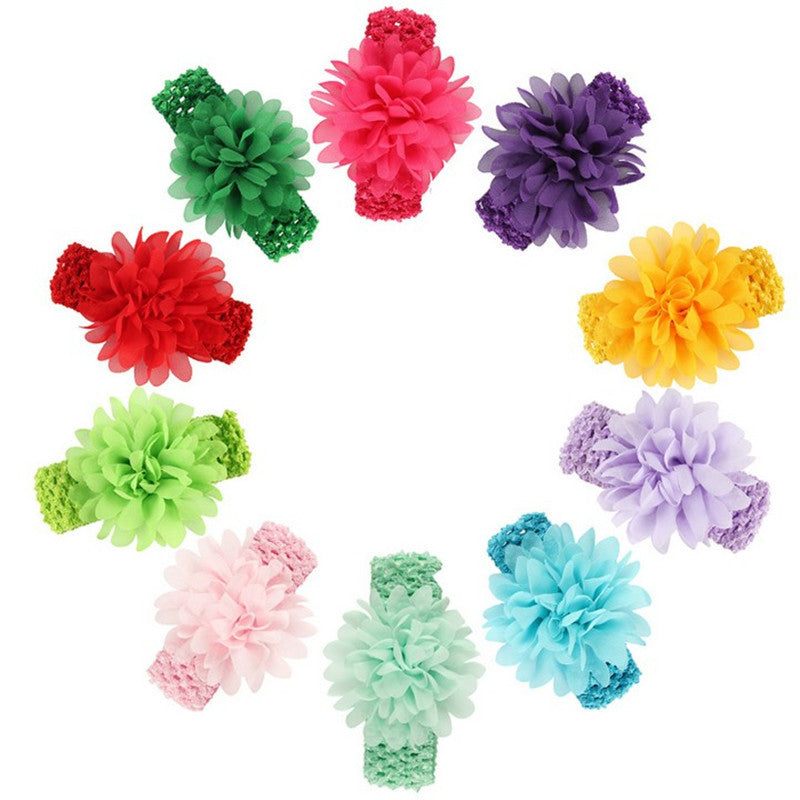 chiffon flower crochet headband girl hair accessories assorted color