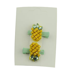 crystal diamond assembly pineapple grosgrain ribbon covered alligator hair grip kid headwear 5854 - SOHOBUCKS CO.,LIMITED