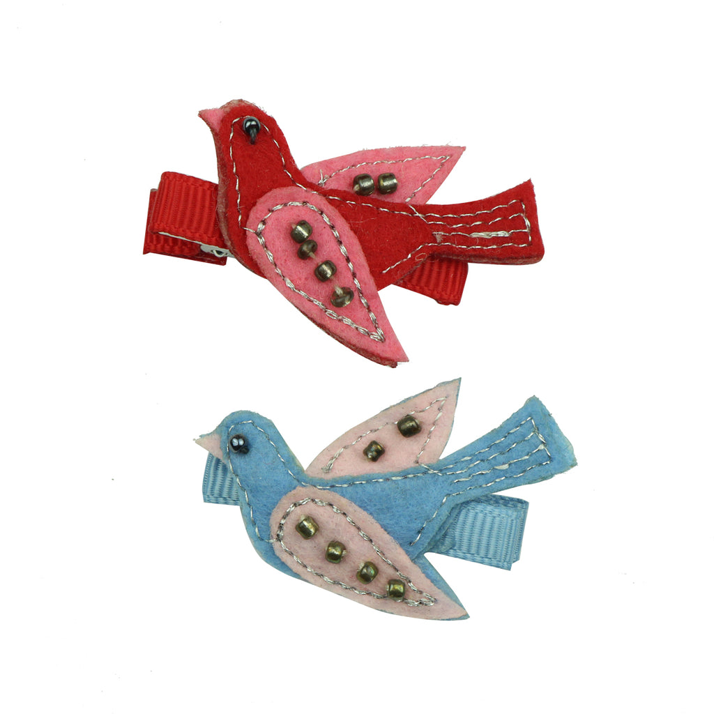custom eco friendly hot pink felt embroidered swallow grosgrain ribbon lined baby girl hair clip set7620