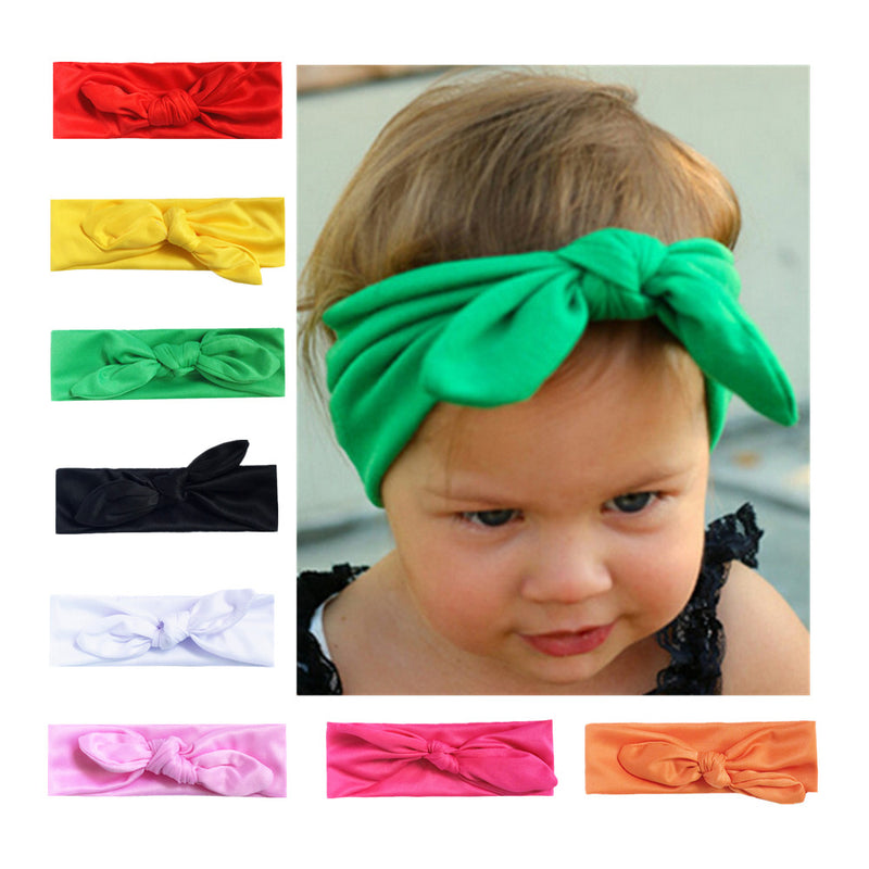 custom mixed fabric bow stretchy hair headband orange toddler girl head wrap 7992