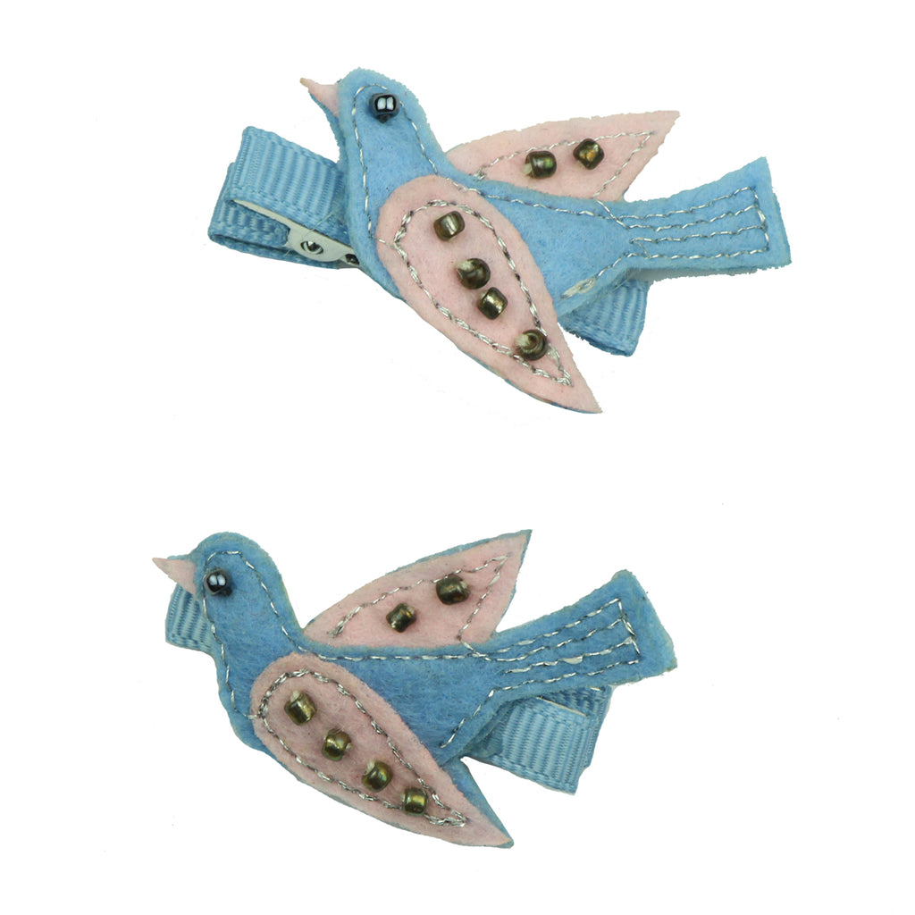 custom non woven felt embroidered swallow grosgrain ribbon wrapped baby girl hair clip set 7621
