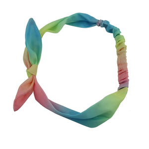 custom print dye sublimation rainbow bowknot elastic fabric headband teenage girl hairbands 6764 - SOHOBUCKS CO.,LIMITED