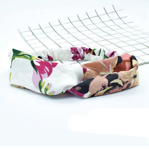 custom print floral twist knot turban headband for women,top knot headbands for adults88005