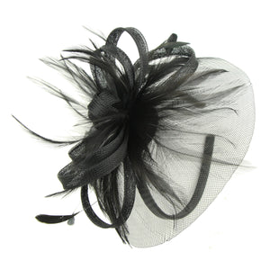 custom private lable handmade black feather sinamay fascinator veil women fascinator base hairband headband7220 - SOHOBUCKS CO.,LIMITED