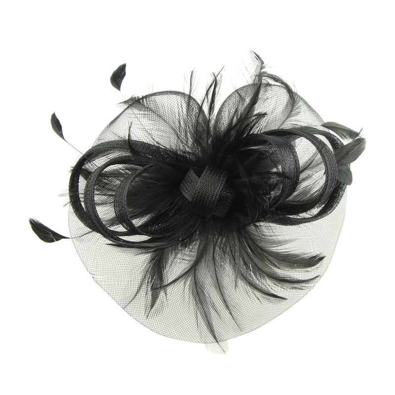 custom private lable handmade black feather sinamay fascinator veil women fascinator base hairband headband7220