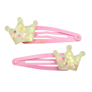 customized eco friendly poly resin crown glitter hair clip7701 - SOHOBUCKS CO.,LIMITED