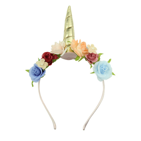 cute unicorn hair accessories headpiece girls gold unicorn headband hairband with flowers and leaves5909